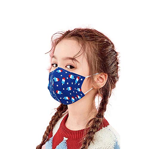 Homemarke 9PCS Baby Kids Baumwolle Face Bandanas, niedlicher Druck Atmungsaktiver Filter Safe Protect Thin Type Wiederverwendbar/Waschbar(Marine)