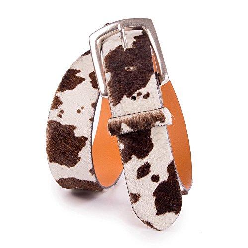 Almbock Trachtengürtel aus echtem Kuhfell - exclusiver Guertel in den Farben braun und weiß, hochwertige Verarbeitung, für Herren
