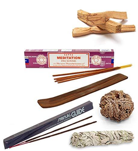 Set de Limpieza y Meditación | Componentes 100% Naturales | Salvia Blanca + Palo Santo + Rosa de Jericó + Inciensos Meditación + Porta Inciensos
