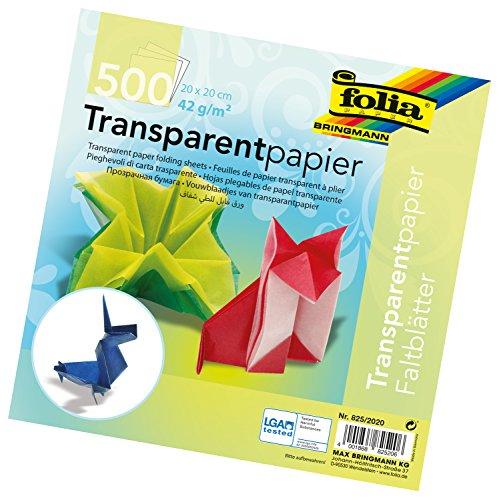 folia 825/2020 - Transparentpapier - Faltblätter, 20 x 20 cm, 500 Blatt, 42 g/qm, sortiert in 10 Farben - ideal für wunderschöne Faltfiguren und -formen