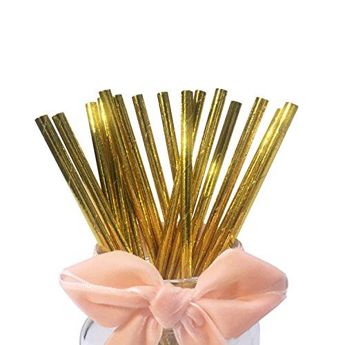 Pajitas de paperl de oro brillante, Rayas Lunares Decoración de Cóctel Fiesta Boda Colores Surtidos 100 Unidades