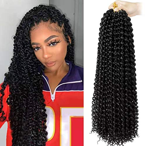 Passion Twist Hair 18 inch Freetress Water Wave Bohemian Hair Butterfly locs Synthetic Passion Twist Braiding Hair Crochet Braids for Black Women Hair Extensions(pack of 6,1B)