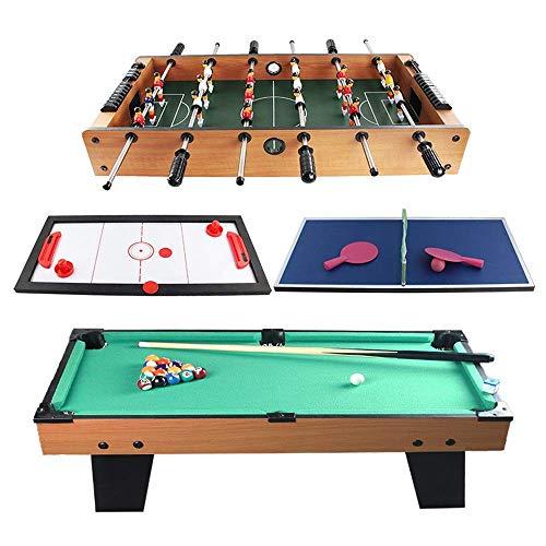 Tischfußball 4 in 1 Kombi-Spieltisch Billard Slide Hockey Tischfußball Mini-Billardtisch Tischspielzeug für Erwachsene Kinder Fußballspiel für Kinder und Erwachsene (Farbe, Größe: 90x73x73cm)