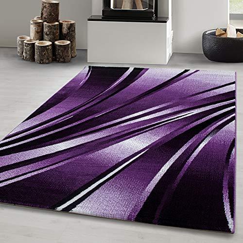 Carpetsale24 Designer Teppich kurzflor, Wohnzimmerteppich, Wellen Figur, Soft Flor, LILA, Maße:160 x 230 cm