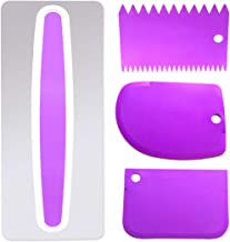 AYWFEY Stainless Steel Cake Scraper,with 3 Pieces Purple Plastic Icing Decorate Comb Smoother, Cake Edge Side Decorating Cutter DIY Tools Blade Set
