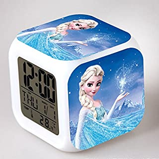 Enjoy Life : Cute Digital Multifunctional Alarm Clock with Glowing Led Lights and Frozen Sticker, Good Gift for Your Kids, Comes with Bonuses (08)