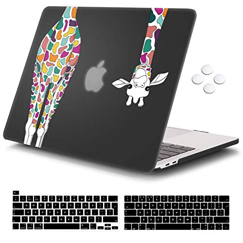 Macbook Pro 13 inch Case 2020 Release A2338 M1 A2251 A2289, iCasso Plastic Hard Shell Case Protective Cover & Keyboard Cover Compatible New Macbook Pro 13 inch with Touch Bar - Black Colorful Giraffe