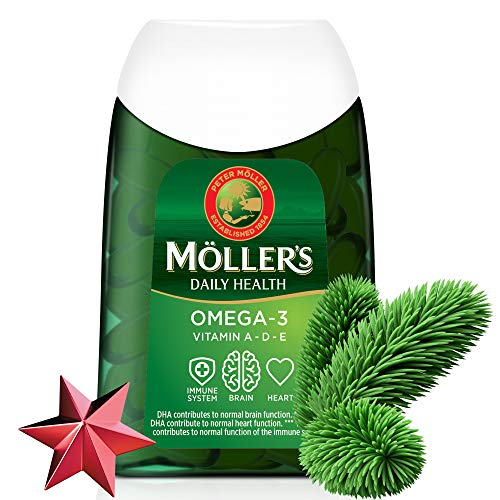 Moller's ® | Capsule di Omega-3 | Olio di pesce | Integratore dietetico Omega-3 nordico con EPA, DHA, Vitamine A, D ed E | 166 anni di esperienza del marchio | Salute quotidiana | 112 capsule