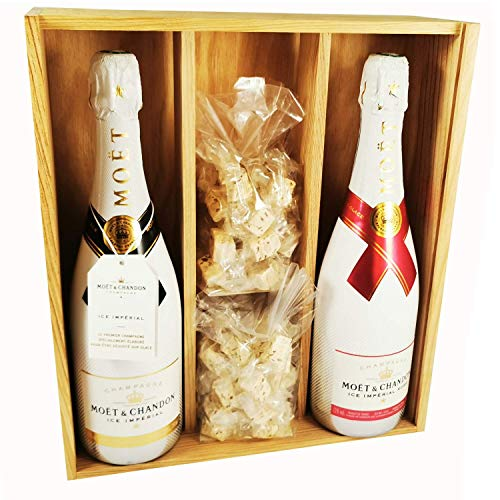 Champagner Moet & Chandon - Ice Imperial Brut/Ice Rosé & 2 * 150 Gramm Speculoos Nougadets - Jonquier Deux Frères - In Holzkiste