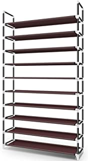 Awenia 10 Tiers Shoe Rack Organizer 50 Pairs,Adjustable Shoes Shelf Tower Metal Tall for Closet with Spare Parts,DIY Assembly