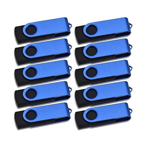 Pendrive 10 Piezas Memorias USB 512MB - Pequeña Capacidad Llavero Memoria Stick Kepmem Metal Azul Giratorio Flash Drive 2.0 Práctico y Buenos Pen Drive 512 MB Almacenamiento para Grabar Cosas Pequeñas