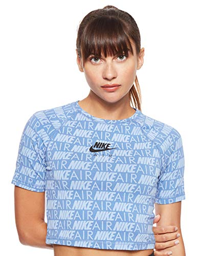 NIKE W NSW Air Top SS AOP Camiseta de Manga Corta, Mujer, Indigo Storm, XL