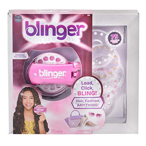 Blinger BGW0001 Diamant Edition Pink Glam Styling Tool + 5 Einlegescheiben mit 75 Edelsteinen für Kinder ab 6 Jahre