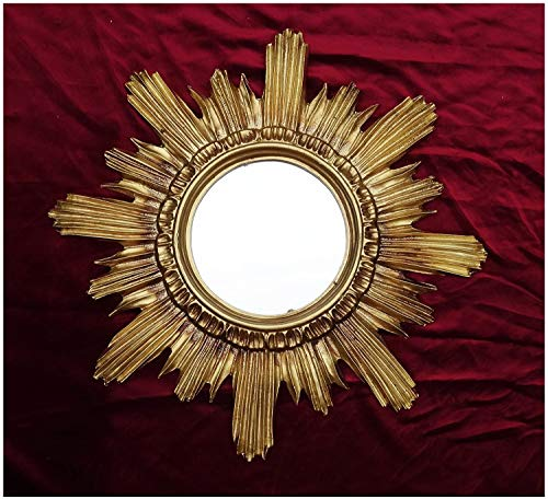 Lnxp BAROCK ANTIK WANDSPIEGEL Sonne IN Gold 42x42 cm RUND RUNDER REPRO Spiegel Sun