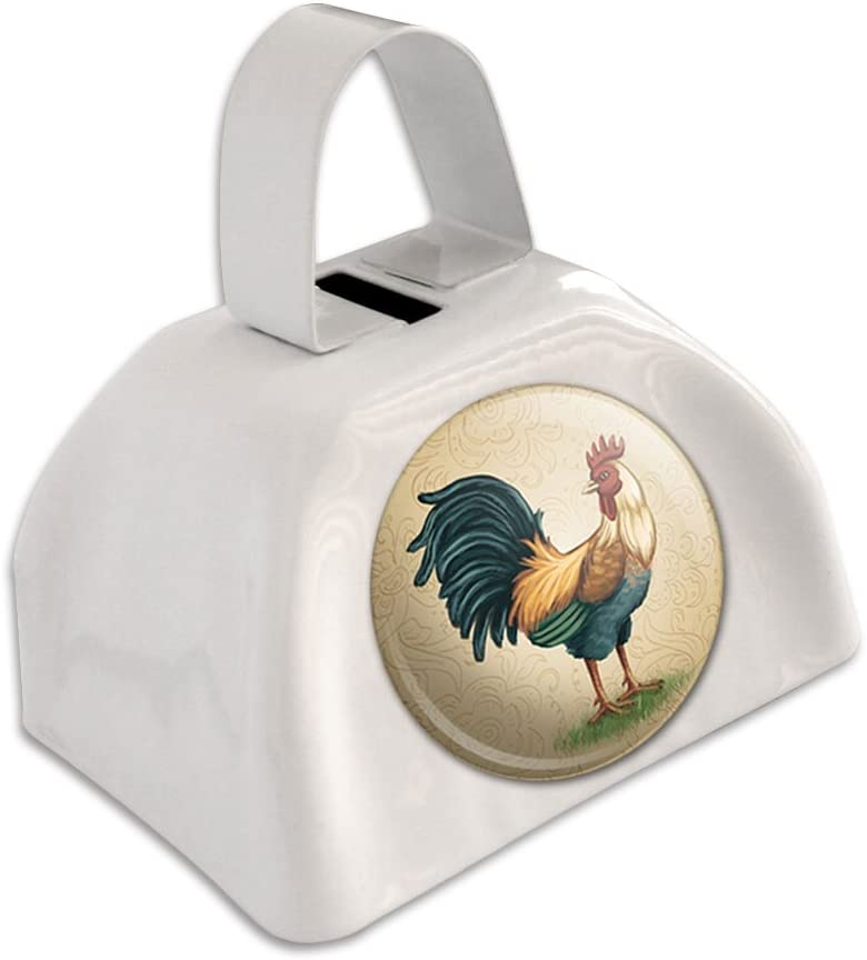 Vintage Rooster on Floral Background Cow Cowbell Bell White Animer and price revision San Diego Mall