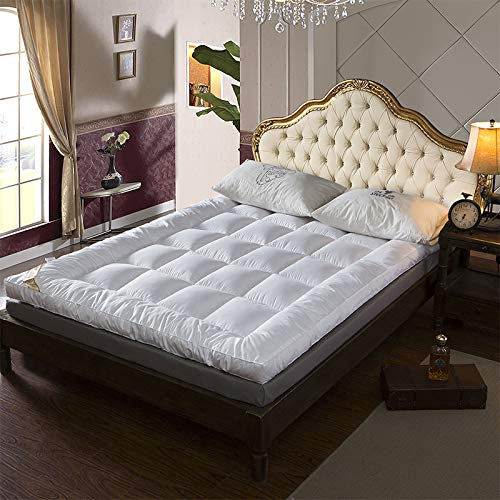WXPE Mattress Topper Double, Overfilled Mattress Pad, Ultra Soft and Hypoallergenic,Baffle Box Stitched Design, New & Improved Down Alternative Bed Topper for Optimum Cushioning & Support, Breathable