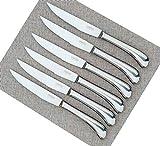 Steak Knives Set of 6 - Premium Stainless Steel, Dishwasher Safe -Shiny Polished