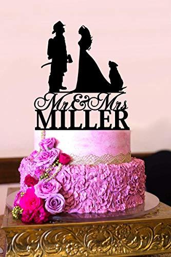 Bruiloft Taart Topper, Brandweerman Taart Topper, Bruid en Groom Taart Topper met Hond, Mr Mrs Cake Topper, Aangepaste Taart Topper, Achternaam Topper