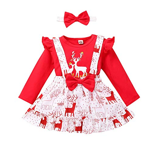 Baby Girl Christmas Outfits Long Sleeve Deer Tops Suspender Skirt Headband Set Casual Cartoon Clothes (RD, 3-4 Years/110)