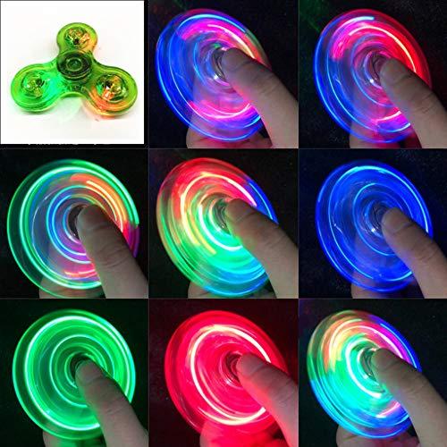 NKDD Transparent LED Lumière Fidget Spinner Main Top Spinner EDC Spiner Enfants Adulte Jouet Lumière Fidget Spinner Vert