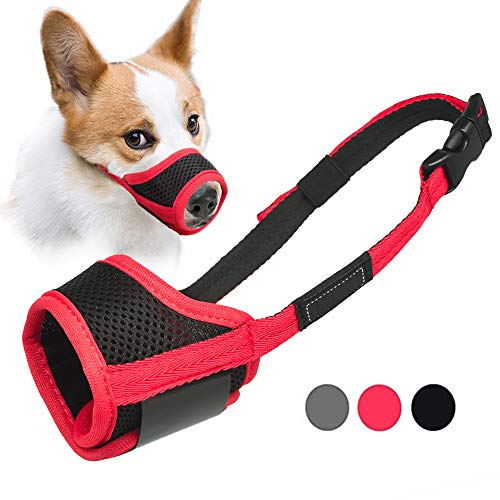 LUCKYPAW Dog Muzzle Anti Biting Barking and Chewing, with Comfortable Mesh Soft Fabric and Adjustable Strap, Suitable for Small, Medium and Large Dogs (S, Red)
