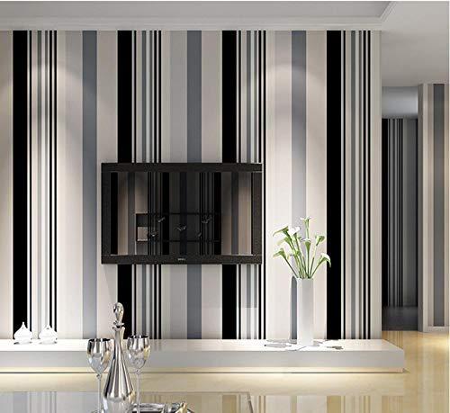 Tapete Moderne Minimalistische Schwarz-weiß Grau Gestreifte Vliestapete Wohnzimmer Schlafzimmer TV Sofa Horizontal gestreifte Tapeten / 20.8 In 32.8 Ft=57 Sq.ft (10,05 m x 0,53 m)