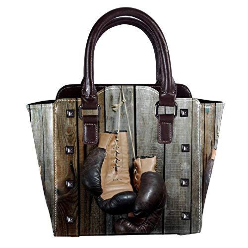 Nananma Handtasche mit Tragegriff, Schultertasche für Damen, Leder, mit braunen alten Boxhandschuhen mit Spitze über alten Holzwand-Muster, Umhängetasche, Hobo-Handtasche