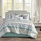 WPM WORLD PRODUCTS MART 7 Piece Southwestern Print Native American Design Comforter Set Multicolor Light Teal/Mint Green White Queen Size Bed in a Bag Western Navajo Bedding Set- Molly