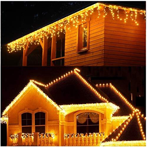 Lichterkette Eisregen Außen, 5M Weihnachtsbeleuchtung Lichtervorhang mit USB, 8 Modi und Timer Memory-Funktion und Dimmbar mit Fernbedienung, Deko Hochzeiten, Garten(Warmweiß)