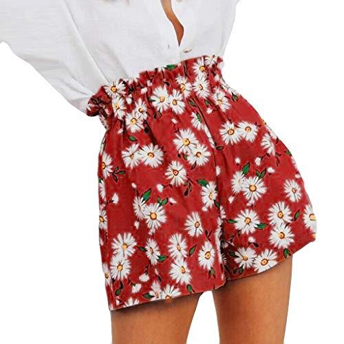 Todiri Pantalones Cortos Sueltos con Estampado De Girasol para Mujer(Rojo,2XL)