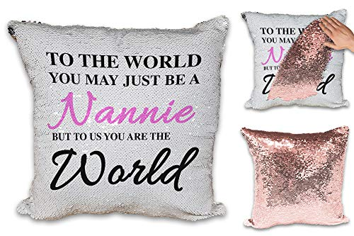 to The World You May Just Be A Nannie Sequin Reveal Magic Cushion Cover - Rose Gold