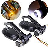 """MOTORCYCLE 7/8"""" Handlebar BAR END Mirrors Turn Signals DRL Light Cafe Racer"""