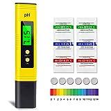 pH Messgerät, omitium pH Wert Messgerät mit LCD-Display Tragbarer Digitaler pH Tester Monitor für Trinkwasser Aquarium Schwimmbad Thermen (Gelb)