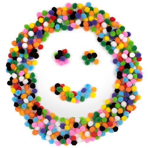 OfficeTree 500 Pompoms Bunt - Pompons Basteln Plüsch für Kinder und Erwachsene - Filzkugeln Bunt 10 mm - Dekorieren Verzieren Nähen DIY Party