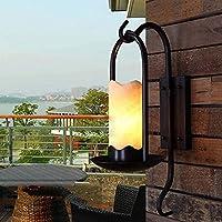 Gylsilai アンティークウォールライト、屋外ランプ装飾ウォールランプ、レトロホテルバーアイルライトポーチライトシンプルスタディ大理石ウォールランプ