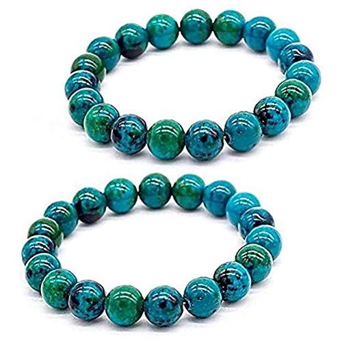 Fencelly 2 pulseras de alivio – pulsera de crisocolla de la diabetes, pulsera de cuentas de piedras preciosas premium hecha a mano, pulsera redonda con cuentas para mujeres y hombres