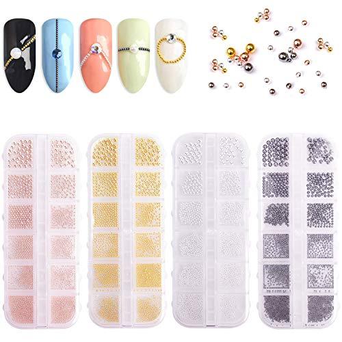 Noverlife 4 Stück Metall-Nagelkunst-Perlen, 3D-Nageldesign-Dekoration, Mini-Edelstahl-Kugeln, kleine Kaviar-Nagelperlen, Maniküre-Nagelbänder, Zubehör, Miniatur-Kugeln, Mikroperlen für DIY Handwerk