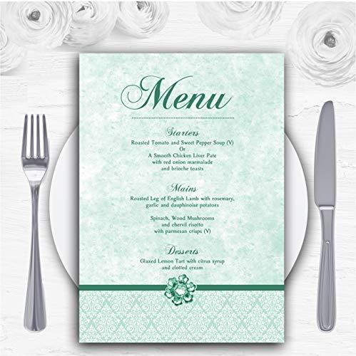 Pale Mint Green Vintage Damask Jewel Gepersonaliseerde Bruiloft Menu Kaarten 10 x A6 Menus