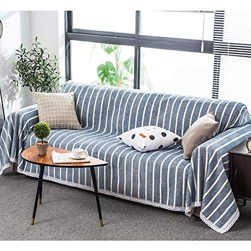 XQWZM One-piece Polyester Sofa Cover,Simplicity Striped Couch Cover,Living Room Furniture Couch Protector,Armchair Couch Slipcovers-Blue 180x380cm(71x150inch)