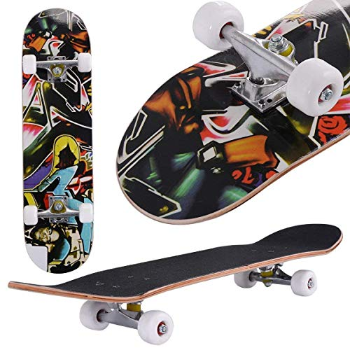 """Aceshin Skateboard, 31"""" x 8"""" Complete PRO Skateboard, 9 Layer Canadian Maple Wood Double Kick Tricks Skate Board Concave Design for Beginner,Gift for Kids Boys Girls Youths (4 - Human Head)"""