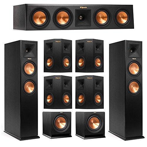 Klipsch 7.2 System with 2 RP-260F Tower Speakers, 1 RP-440C Center Speaker, 4 Klipsch RP-240S Surround Speaker, 2 Klipsch R-110SW Subwoofer + AudioQuest Bundle