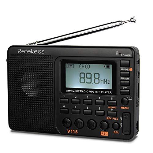Retekess V115 Shortwave Radio AM FM Radio Digital Tuner Rechargeable Radio Support Recording Portable MP3 Radio with Bass and TF Socket Black