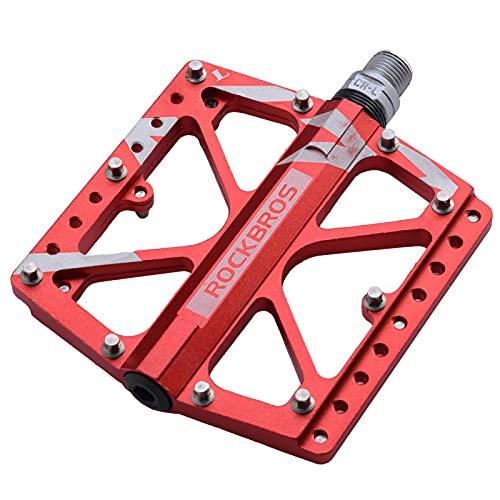 ROCKBROS Fahrrad Pedale Mountainbikes Fahrradpedale 9/16 Zoll für MTB Rennrad Flatpedale Plattform Eloxiert Alu