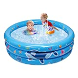 Balnore Inflatable Kiddie Pool, 3 Ring Kids Paddling Whale Pool, Baby, Toddlers for Ages 3+, Kiddie, Indoor&Outdoor, Garden and Backyard Water Party, 48x18x8 in