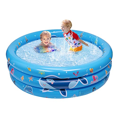 balnore Paddling Pool, 3-Ring Inflatable Paddling Pools for Kids Paddle Pool Small Swimming Pools for Gardens Outdoor Backyard, 47x17x7 Inches
