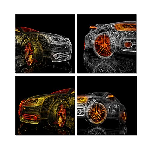 iHAPPYWALL Abstract Car Canvas Wall Art Colorful Cars 3D Model Design On Black Background Picture Painting for Home Decoration Stretched Canvas and Ready to Hang 12''x12''x4pcs