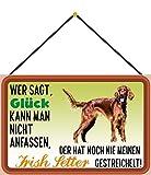 Blechschild Con cordón 30 x 20 cm, decoración para perros con texto en alemán 'Wer SAGT Glück kann Man nicht anfassen, der hat noch nie einen irlandés gestreichelt - Blechemma