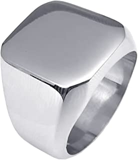 UM Jewelry Mens Stainless Steel Biker Signet Style Classic Ring Engravable Heavy Polished