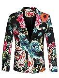 uxcell Men's Suit Blazer Slim Fit Floral Printed One Button Prom Jacket Sport Coat Black Blue 34