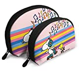 Cartoon Snoopy Bolsas de Cosméticos Bolsa Portátil Bolsa de Embrague Set Mujeres Hombres Viaje Monedero con Cremallera Organizador 2pcs